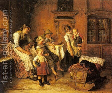 The Intruder by Adolf Eberle - Reproduction Oil Painting