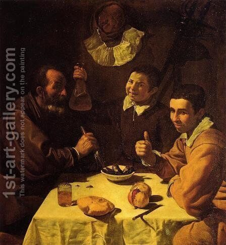 Three Men at a Table (or Luncheon) by Velazquez - Reproduction Oil Painting