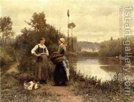 [A Conversation] by Daniel Ridgway Knight - Reproduction Oil Painting