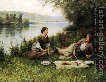 Normandy Garden (or Le Gouter) by Daniel Ridgway Knight - Reproduction Oil Painting