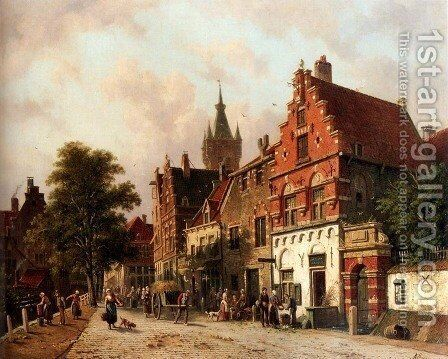 A View In Delft by Adrianus Eversen - Reproduction Oil Painting