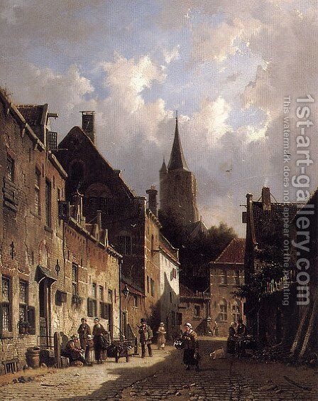 A Dutch Street Scene by Adrianus Eversen - Reproduction Oil Painting