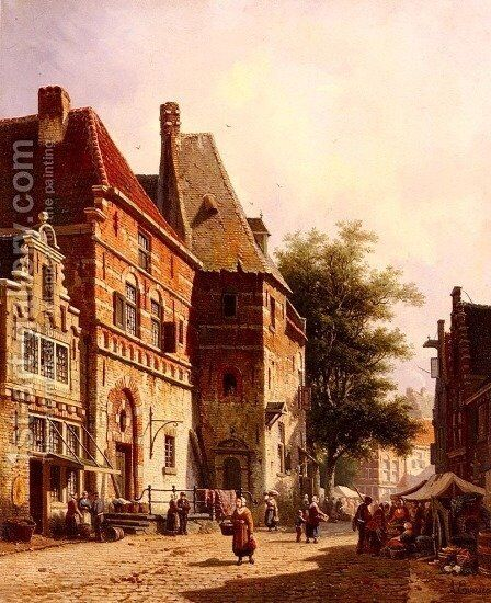 A Sunlit Street On A Market Day by Adrianus Eversen - Reproduction Oil Painting
