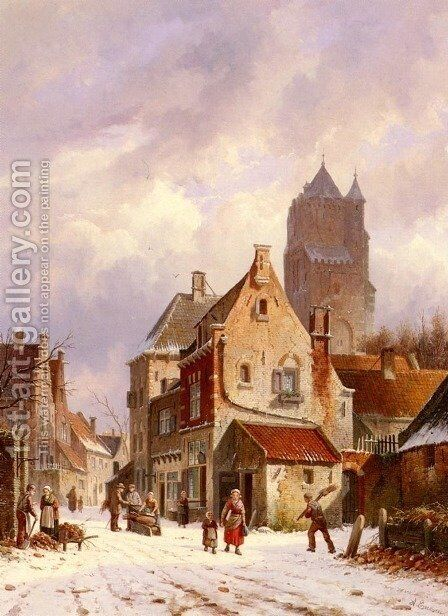 A Winter Street Scene by Adrianus Eversen - Reproduction Oil Painting