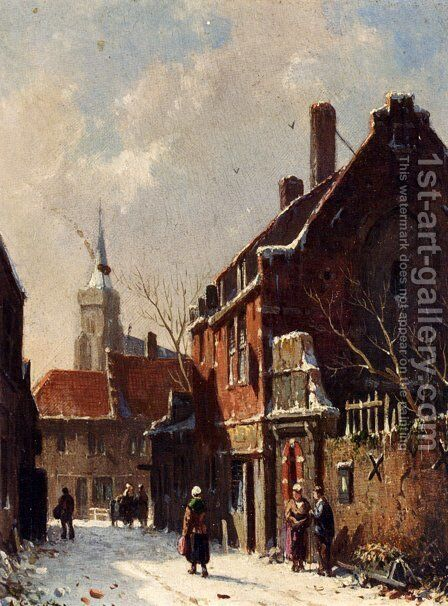 Figures In The Streets Of A Dutch Town In Winter by Adrianus Eversen - Reproduction Oil Painting