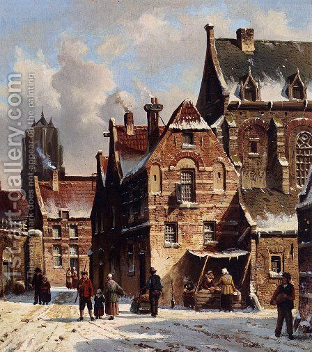 Figures In The Streets Of A Wintry Town by Adrianus Eversen - Reproduction Oil Painting