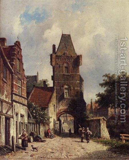 In The Village by Adrianus Eversen - Reproduction Oil Painting