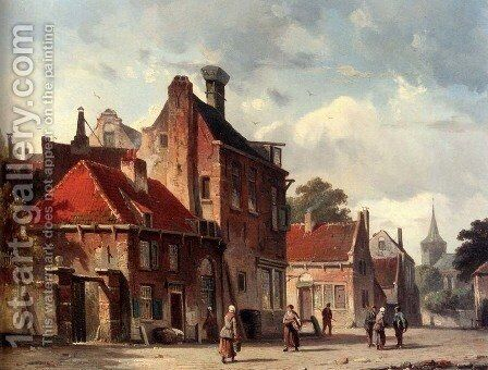 View Of a Town With Figures In A Sunlit Street by Adrianus Eversen - Reproduction Oil Painting