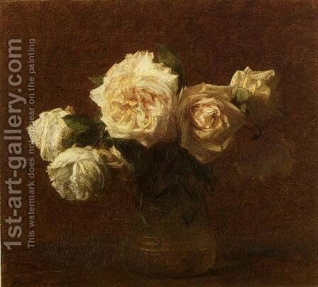 Yellow Pink Roses in a Glass Vase by Ignace Henri Jean Fantin-Latour - Reproduction Oil Painting