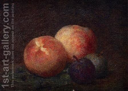 Two Peaches and Two Plums by Ignace Henri Jean Fantin-Latour - Reproduction Oil Painting