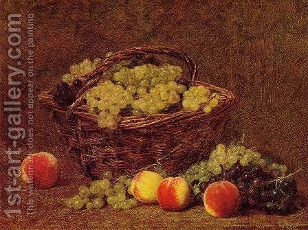 Basket of White Grapes and Peaches by Ignace Henri Jean Fantin-Latour - Reproduction Oil Painting