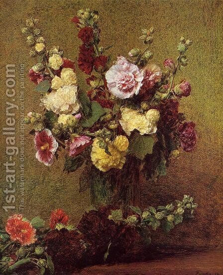 Holly-hocks by Ignace Henri Jean Fantin-Latour - Reproduction Oil Painting