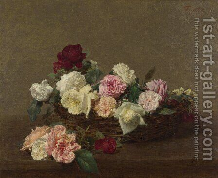 A Basket of Roses by Ignace Henri Jean Fantin-Latour - Reproduction Oil Painting