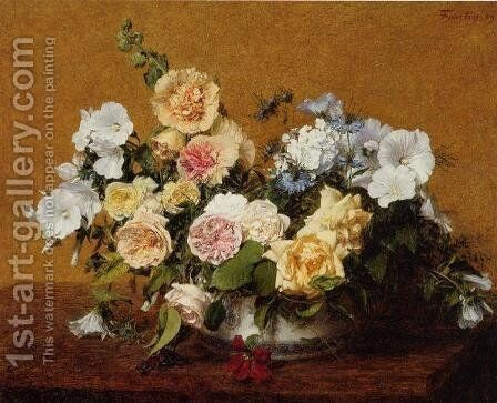 Bouquet of Roses and Other Flowers by Ignace Henri Jean Fantin-Latour - Reproduction Oil Painting