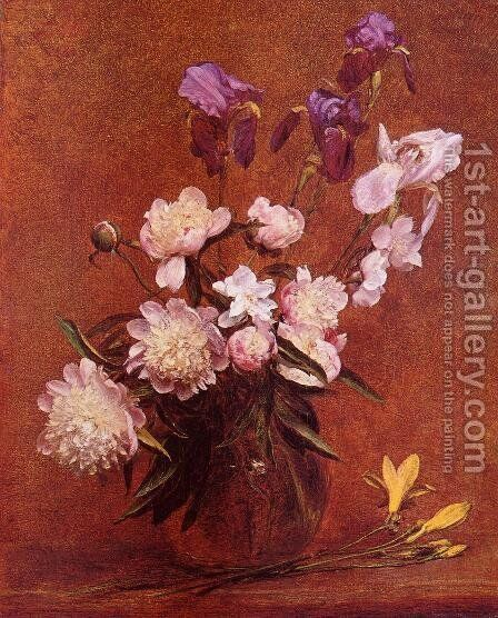 Bouquet of Peonies and Iris by Ignace Henri Jean Fantin-Latour - Reproduction Oil Painting