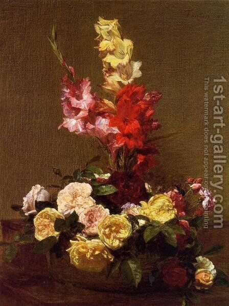 Gladiolas and Roses by Ignace Henri Jean Fantin-Latour - Reproduction Oil Painting