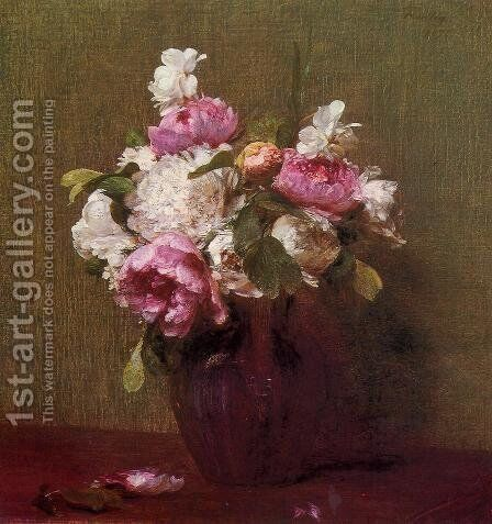 White Peonies and Roses, Narcissus by Ignace Henri Jean Fantin-Latour - Reproduction Oil Painting