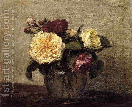 Yellow and Red Roses by Ignace Henri Jean Fantin-Latour - Reproduction Oil Painting