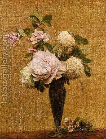 Vase of Peonies and Snowballs by Ignace Henri Jean Fantin-Latour - Reproduction Oil Painting