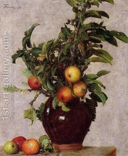 Vase with Apples and Foliage by Ignace Henri Jean Fantin-Latour - Reproduction Oil Painting