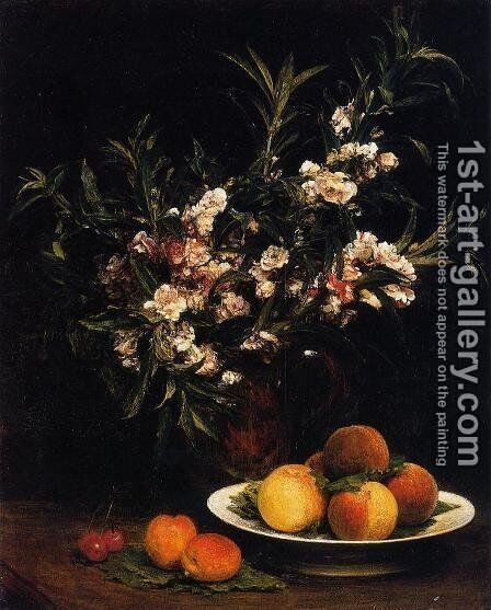 Still Life: Balsimines, Peaches and Apricots by Ignace Henri Jean Fantin-Latour - Reproduction Oil Painting