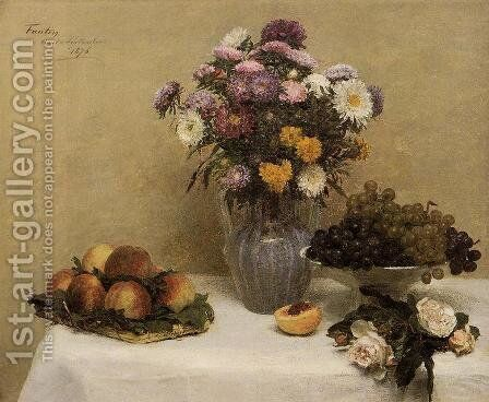 White Roses, Chrysanthemums in a Vase, Peaches and Grapes on a Table with a White Tablecloth by Ignace Henri Jean Fantin-Latour - Reproduction Oil Painting