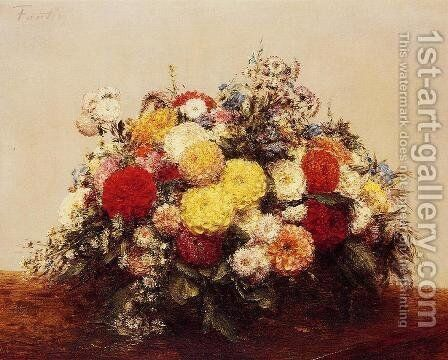 Large Vase of Dahlias and Assorted Flowers by Ignace Henri Jean Fantin-Latour - Reproduction Oil Painting