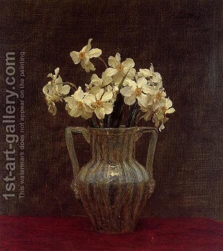 Narcisses in an Opaline Glass Vase by Ignace Henri Jean Fantin-Latour - Reproduction Oil Painting