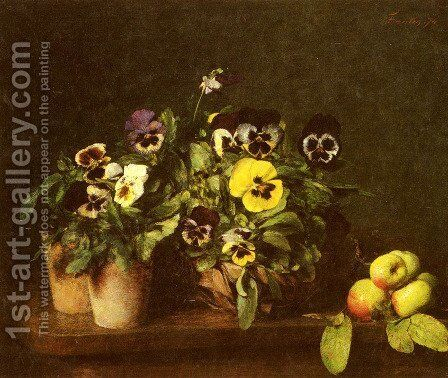 Still Life with Pansies by Ignace Henri Jean Fantin-Latour - Reproduction Oil Painting