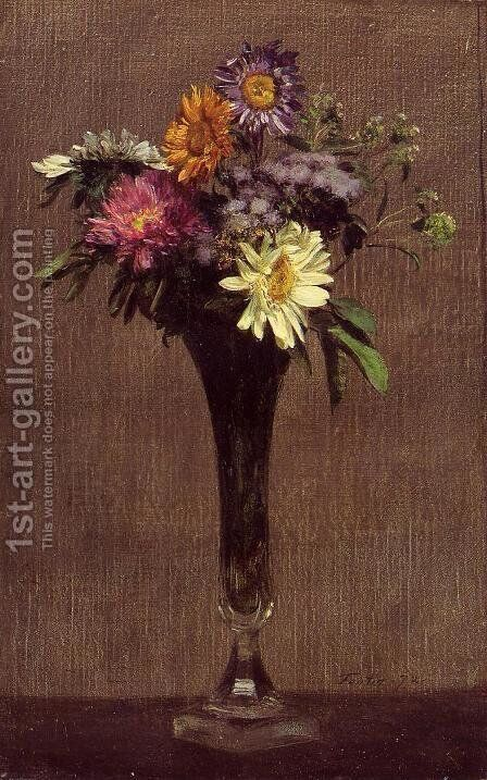 Daisies and Dahlias by Ignace Henri Jean Fantin-Latour - Reproduction Oil Painting