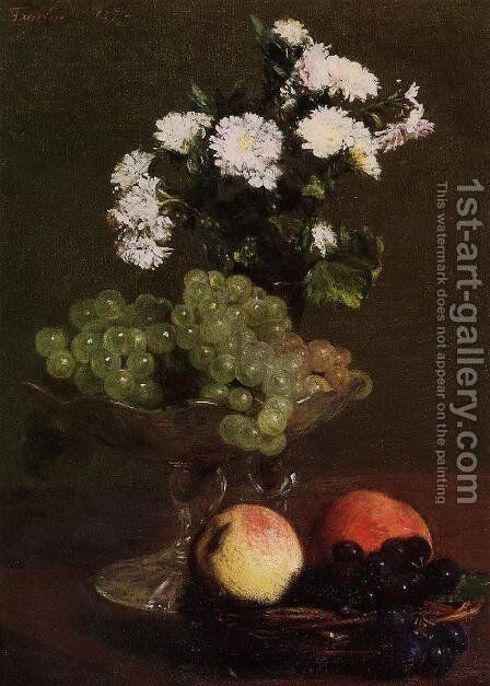 Still Life: Chrysanthemums and Grapes by Ignace Henri Jean Fantin-Latour - Reproduction Oil Painting