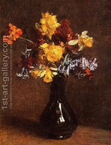 Vase of Flowers by Ignace Henri Jean Fantin-Latour - Reproduction Oil Painting