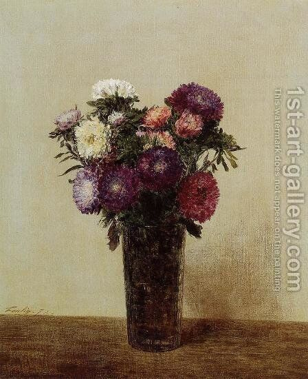 Vase of Flowers: Queens Daisies by Ignace Henri Jean Fantin-Latour - Reproduction Oil Painting