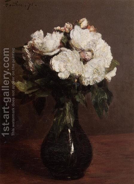 White Roses in a Green Vase by Ignace Henri Jean Fantin-Latour - Reproduction Oil Painting
