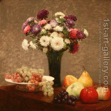 Asters and Fruit on a Table by Ignace Henri Jean Fantin-Latour - Reproduction Oil Painting