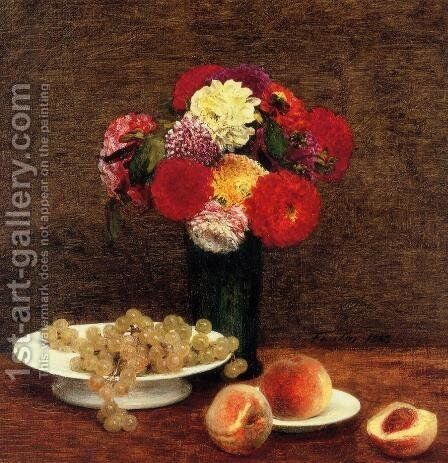 Still Life: Dahlias in a Green Vase by Ignace Henri Jean Fantin-Latour - Reproduction Oil Painting