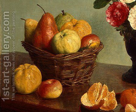 Still Life [detail: 1] by Ignace Henri Jean Fantin-Latour - Reproduction Oil Painting