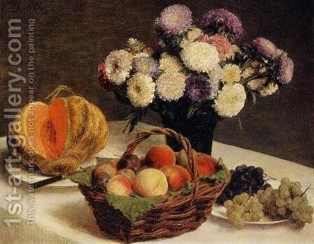 Flowers and Fruit, a Melon by Ignace Henri Jean Fantin-Latour - Reproduction Oil Painting
