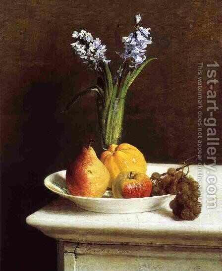 Still Life, Hyacinths and Fruit by Ignace Henri Jean Fantin-Latour - Reproduction Oil Painting