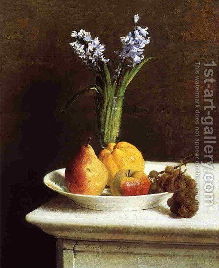 Still Life: Hyacinths and Fruit by Ignace Henri Jean Fantin-Latour - Reproduction Oil Painting