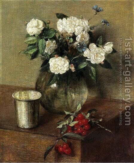 White Roses and Cherries by Ignace Henri Jean Fantin-Latour - Reproduction Oil Painting