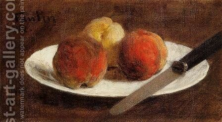 Plate of Peaches by Ignace Henri Jean Fantin-Latour - Reproduction Oil Painting