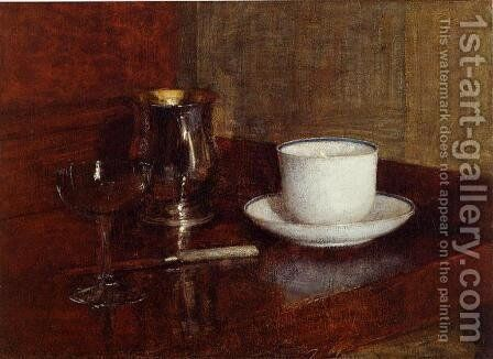 Still Life: Glass, Silver Goblet and Cup of Champagne by Ignace Henri Jean Fantin-Latour - Reproduction Oil Painting
