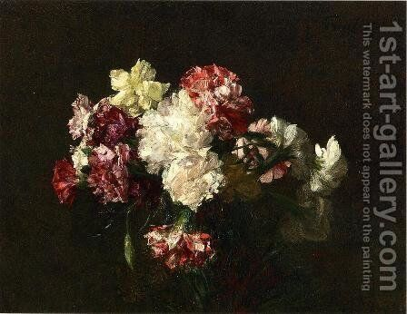 Carnations by Ignace Henri Jean Fantin-Latour - Reproduction Oil Painting