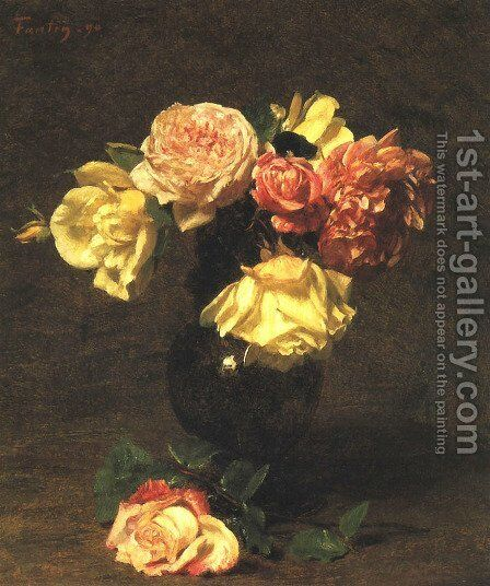 White and Pink Roses by Ignace Henri Jean Fantin-Latour - Reproduction Oil Painting