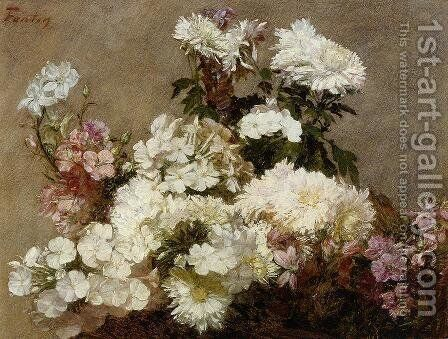 White Phlox, Summer Chrysanthemum and Larkspur by Ignace Henri Jean Fantin-Latour - Reproduction Oil Painting