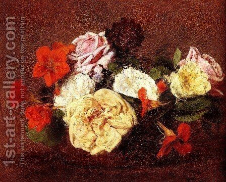 Bouquet Of Roses And Nasturtiums by Ignace Henri Jean Fantin-Latour - Reproduction Oil Painting