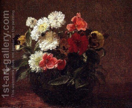 Flowers In A Clay Pot by Ignace Henri Jean Fantin-Latour - Reproduction Oil Painting