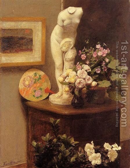 Still Life With Torso And Flowers by Ignace Henri Jean Fantin-Latour - Reproduction Oil Painting