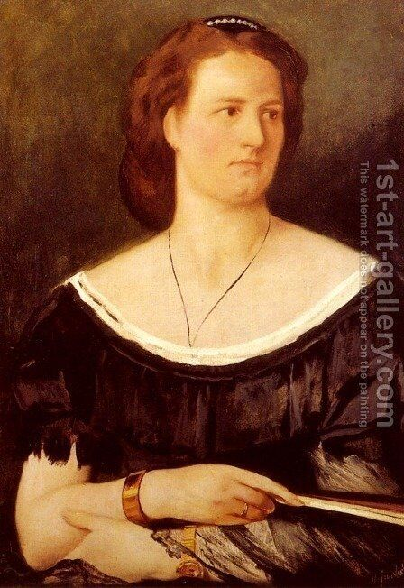 Portrait Of A Lady Holding A Fan by Anselm Friedrich Feuerbach - Reproduction Oil Painting